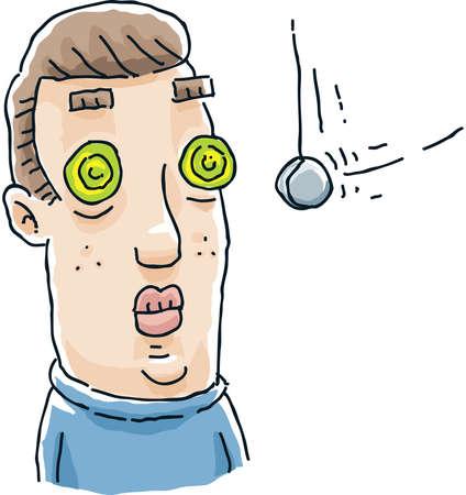 hypnotized: A cartoon man