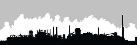 Silhouette of an industrial area