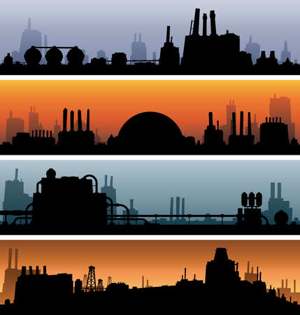Banner silhouettes of industrial areas  Stock Photo