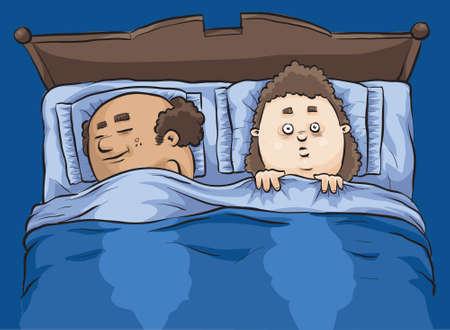 A woman lies awake at bed at night with insomnia