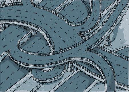 Empty cartoon highway intersection