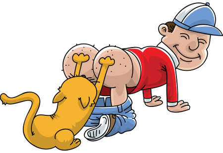 grin: A cartoon man having his itchy bum scratched by his cat