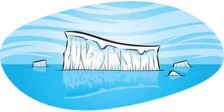 drifting: A cartoon iceberg floating in the open ocean
