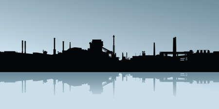 Silhouette von einem Industriegebiet.
