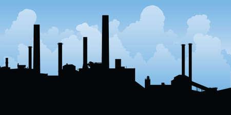 paesaggio industriale: Silhouette di una zona industriale. Archivio Fotografico