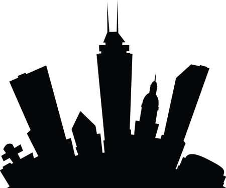 Cartoon skyline silhouette of the city of Indianapolis, Indiana, USA. photo