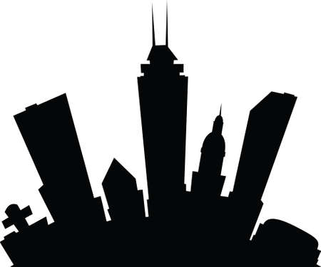 indianapolis: Cartoon skyline silhouette of the city of Indianapolis, Indiana, USA. Stock Photo