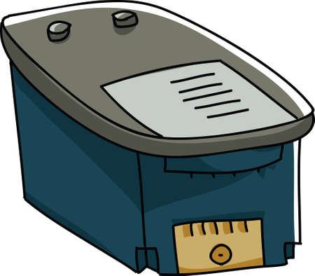 inkjet: A cartoon ink cartridge. Stock Photo