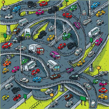 Een drukke, cartoon snelweg kruising.