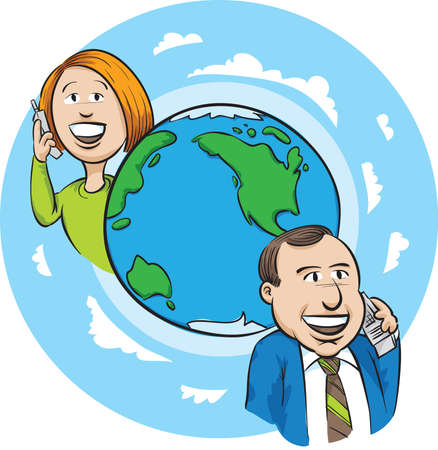 A cartoon woman and man make an international phone call. Фото со стока