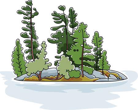 Cartoon evergreen trees on a rocky island in a lake.