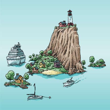 anchored: A cartoon cruise ship anchored by an island in a cartoon vacation setting.
