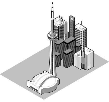 Isometric illustration of the downtown of the city of Toronto, Ontario,Canada. illustration