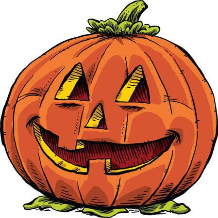 pumpkin face: A smiling, friendly jack o lantern.