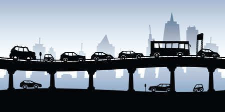 Cartoon silhouette of a traffic jam on a raised highway. Stock Illustratie