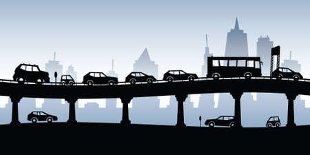 Cartoon Silhouette von einem Stau auf einer erhöhten Autobahn.