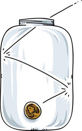 bounces: A cartoon coin bounces into a glass jar.