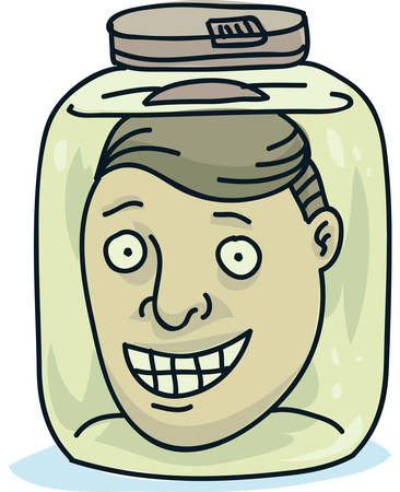 The cartoon head of a smiling man preserved in a jar.