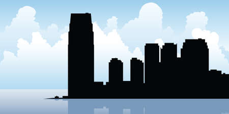jersey city: Skyline silhouette of the city of Jersey City, New Jersey.