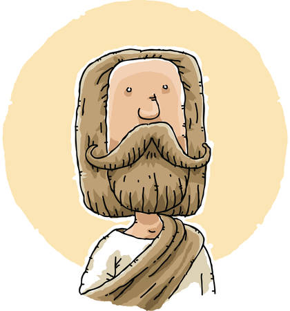 robe: Cartoon Jesus with thick beard and robes.