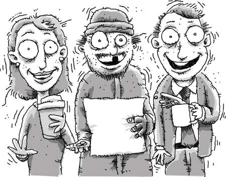 Three jittery, cartoon people high on caffeine.