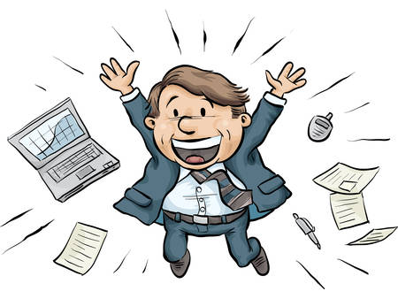 A cartoon businessman jumps for joy, scattering his work.