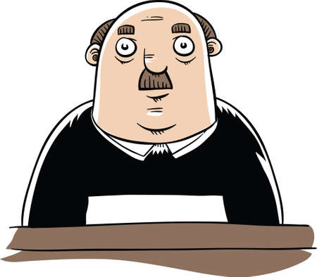 A serious,cartoon judge sitting.