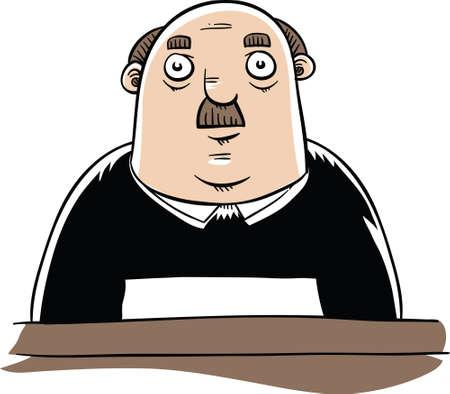 Een ernstige, cartoon rechter zitten.