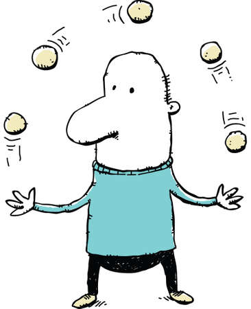 A cartoon man juggling a group of balls.