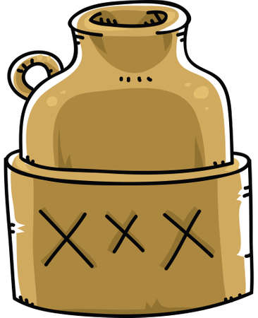 xxx: A jug of moonshine booze marked with XXX.
