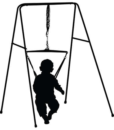 A silhouette of a toddler in a jumper.