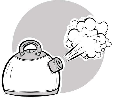 Steam blasting from a boiling, cartoon kettle.