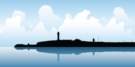 Silhouette of lighthouse at Kiama, New South Wales, Australia.