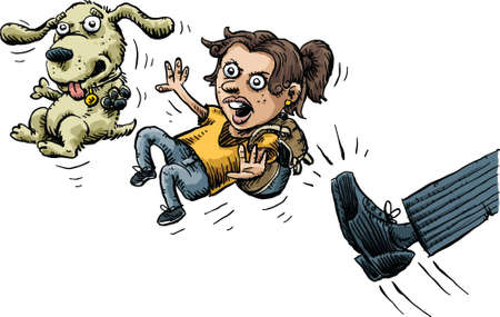 kick out: A cartoon girl and her dog are angry as they are kicked out. Illustration