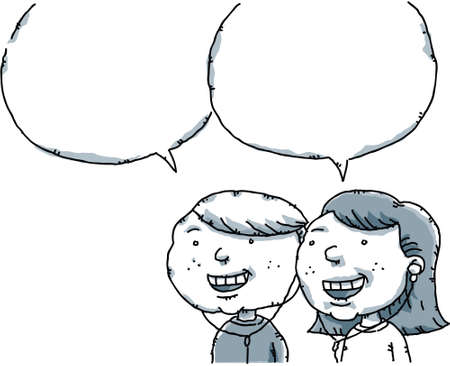 A cartoon boy and girl talking with empty speech bubbles. Vector