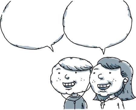 talking: A cartoon boy and girl talking with empty speech bubbles.