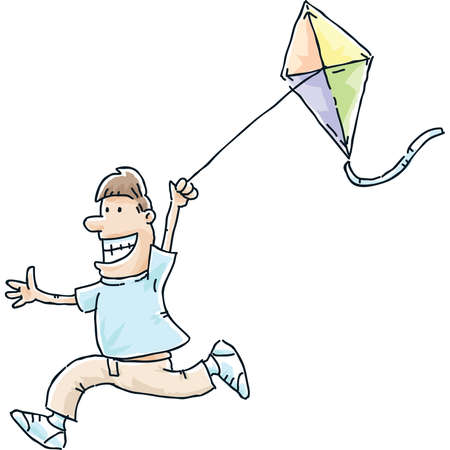 A cartoon man running with a flying kite.