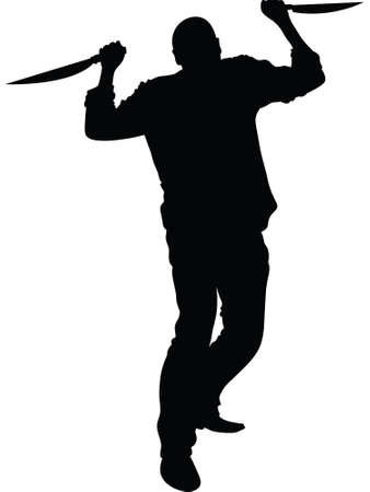 A silhouette of a man carrying two knives.