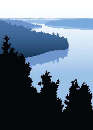 misty: A silhouette landscape of a misty lake.