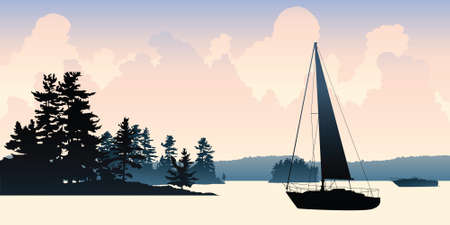 floating: A silhouette of a sailboat floating on a lake.