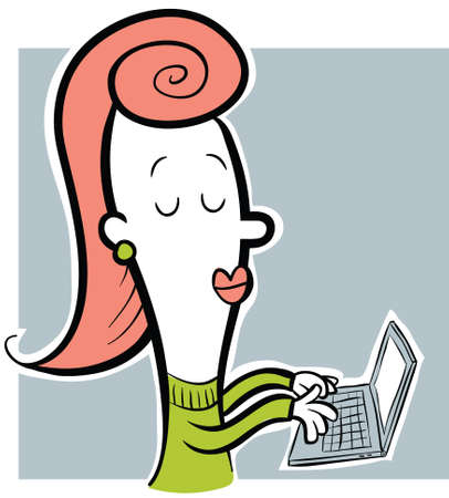 woman laptop: A retro cartoon woman typing on a laptop computer.