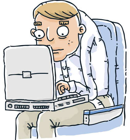 hunched: A cartoon man working on his laptop while squished in an airline seat.