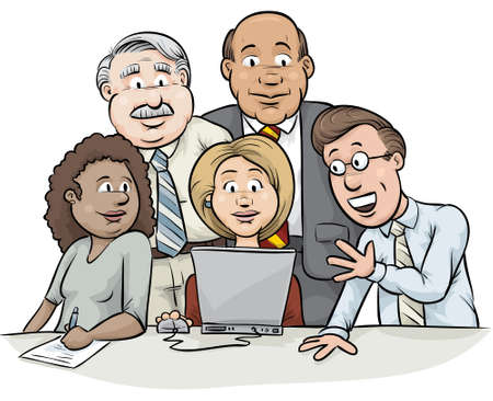 A team of cartoon business people meet in front of a laptop to consult on a problem.