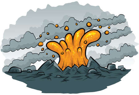 ash cloud: Cartoon lava spurts from the ground. Illustration
