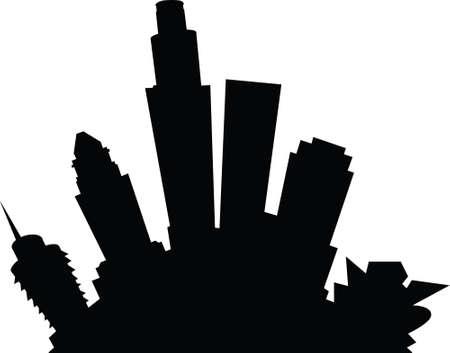 los angeles: Cartoon skyline silhouette of the city of Los Angeles, California, USA. Illustration