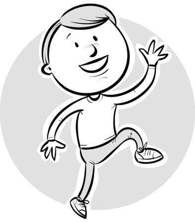 A happy cartoon boy with a spring in his step.