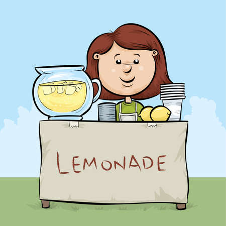 A cartoon girl manages a lemonade stand.