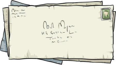 A small pile of aged cartoon envelopes. Stock Vector - 29608807