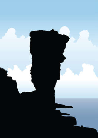rock formations: Silhouette illustration of the Large Flowerpot rock structure on Flowerpot Island in Georgian Bay, Canada.