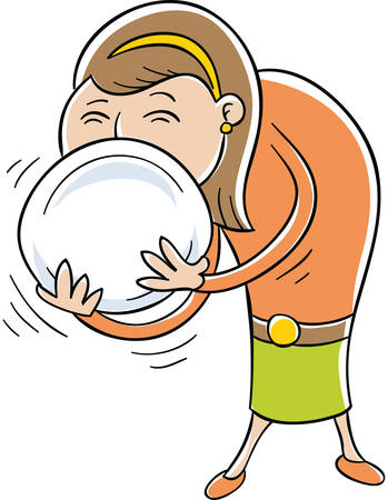 A hungry cartoon woman licking her plate. Vector Illustration